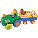 Kiddieland Farm Tractor with Trailer - Sing a Long Songs, Animal Sounds, Motorised Tractor - Includes Farmer & 5 Animals! 12Months + by Kiddieland