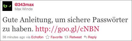 Max Passwort-Tweet