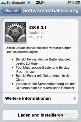 iOS 5.01 - Updateinfos