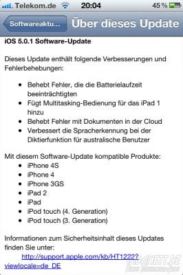 iOS 5.01 - Updateinfos ausführlich