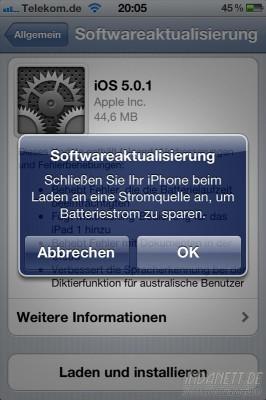 iOS 5.01 - Batteriestrom sparen