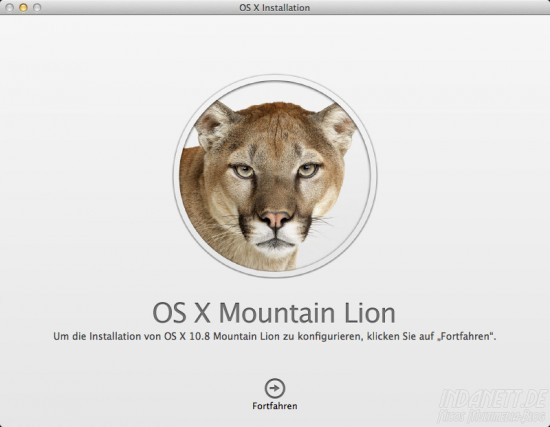 Mountain Lion - Installation starten