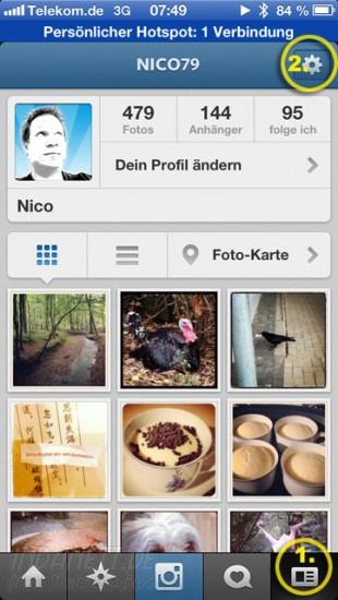 Instagram unter iOS6 - Profil