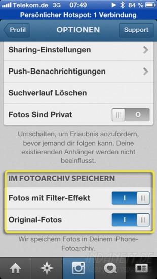 Instagram unter iOS6 - Einstellungen