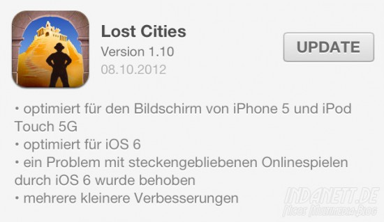 Lost Cities Update iPhone 5/iOS 6