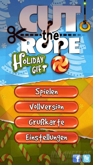 Cut the Rope: Holiday Gift - Startbildschirm