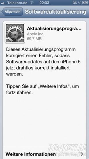 Aktualisierungsprogram WLAN-Update iPhone 5