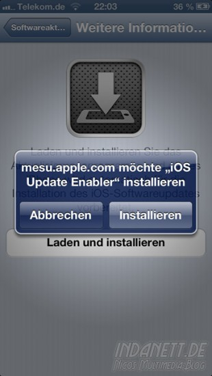 Aktualisierungsprogram WLAN-Update iPhone 5 - Installation