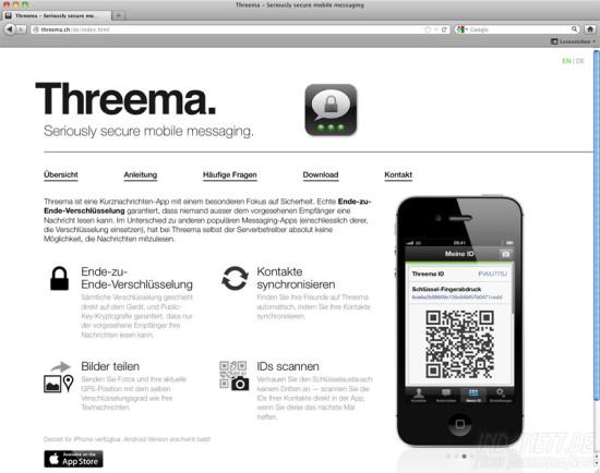 Threema-Internetseite