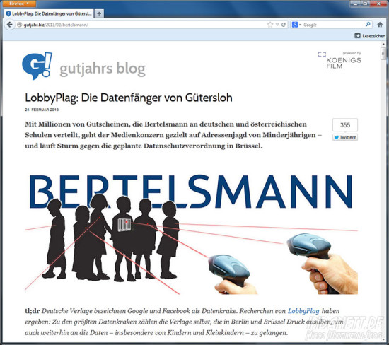 Screenshot LobbyPlag - Deutscheverlage