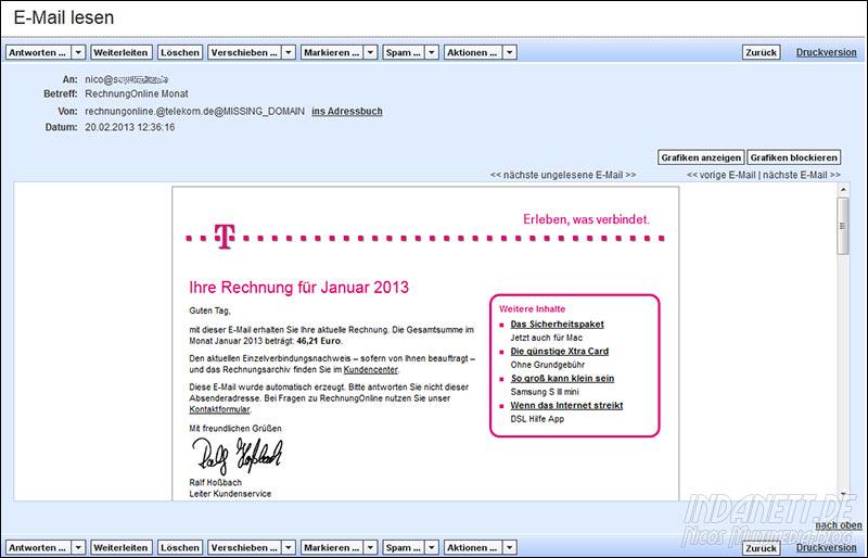 Ihre Rechnung Für Januar 2013 Gefälschte Telekom Rechnung Mit