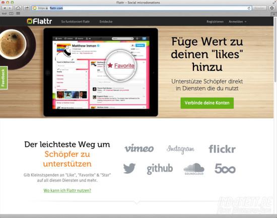 Flattr-Likes - Screenshot Startseite