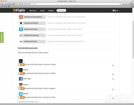 Flattr-Likes - Screenshot Einstellungen