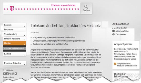 Telekom drosselt