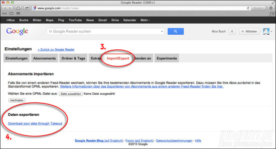 Googlereader Export Teil 2