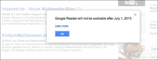 Googlereader schliesst