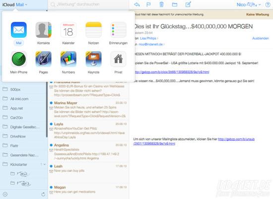 iCloud-Dienste wechseln im iOS7-Design
