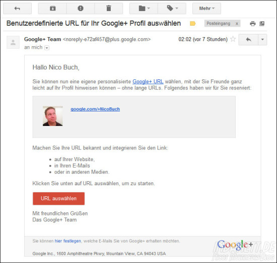 Google URL - Mail