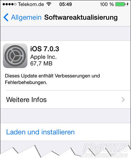 iOS 7.0.3 Aktualisierung