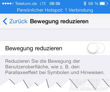 iOS 7.0.3 Bewegung reduzieren