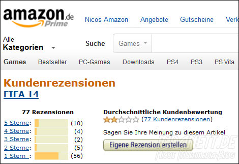 Amazon-Bewertung FIFA 14