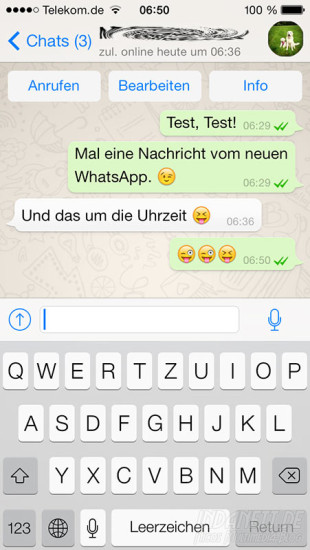 WhatApp iOS7 Chat