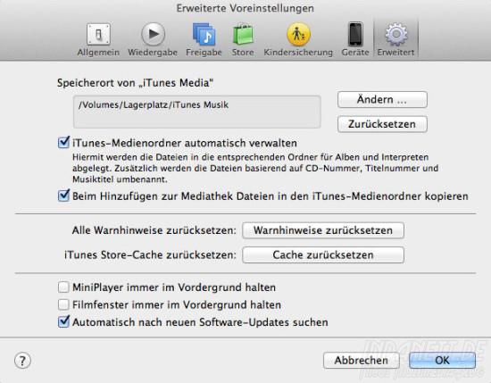 Screenshot iTunes Media Umzug
