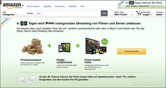 Amazon Prime mit Streaming