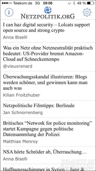 Netzpolitik.org-App Artikelübersicht