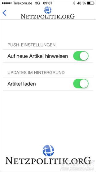 Netzpolitik.org-App Einstellungen