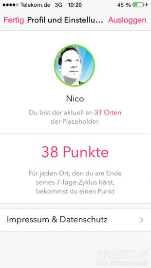 Placescore Profil mit Punkten