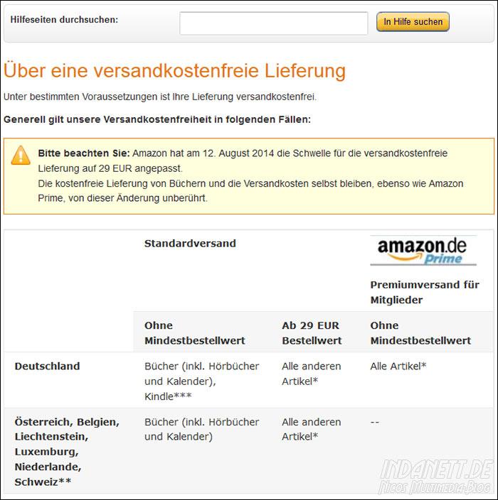 Amazon Versandkostenfrei ab 29euro