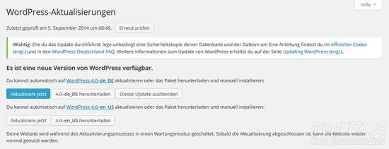 WordPress 4.0 Aktualisierung