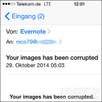 Evernote Images corrupted Spammail Titel
