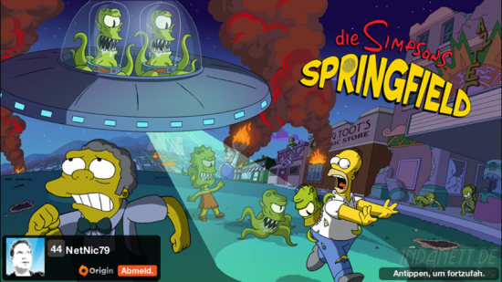 Die Simpsons Springfield Treehouse of Horror 2014 Startbildschirm