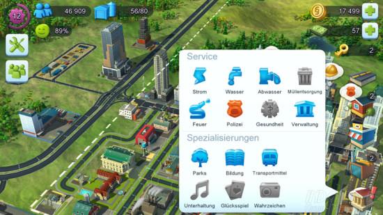 SimCity Buildit Service und Spezialisierungen