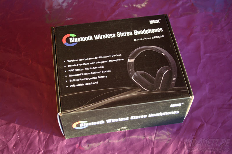 August EP650B Bluetooth Wireless Stereo Headphones Packung
