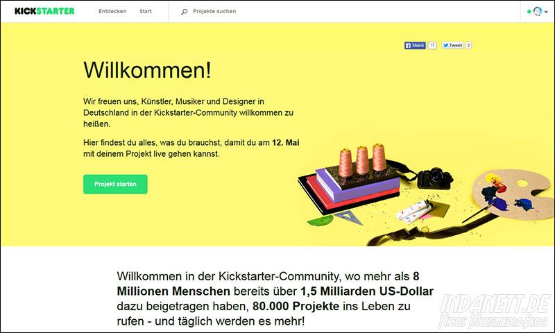 Kickstarter startet in Deutschland