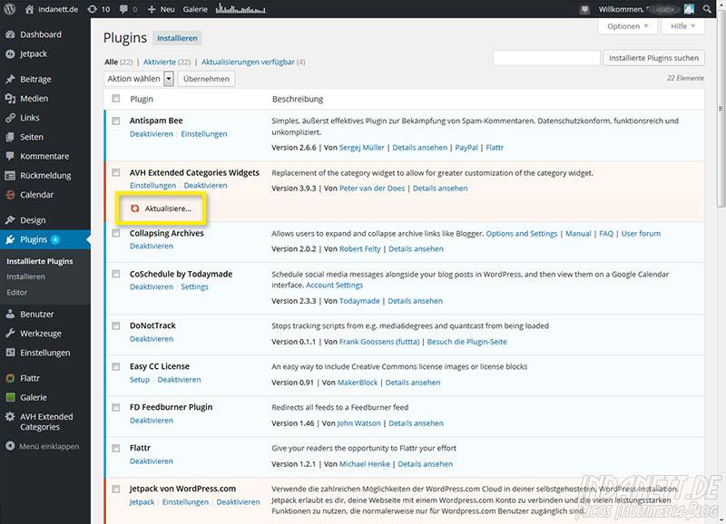 Wordpress 4.2 Updatefehler Plugins