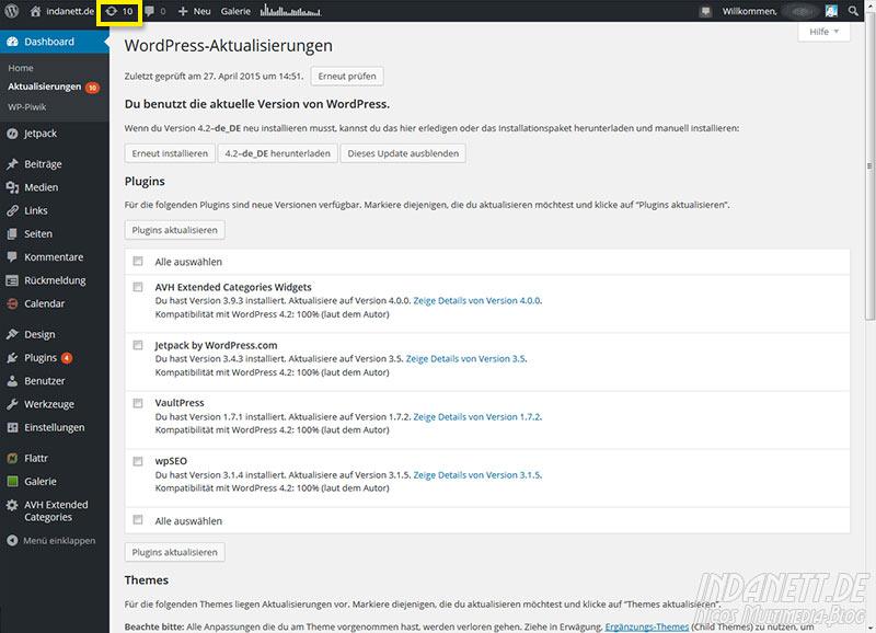 Wordpress 4.2 Updatefehler Plugins umgehen