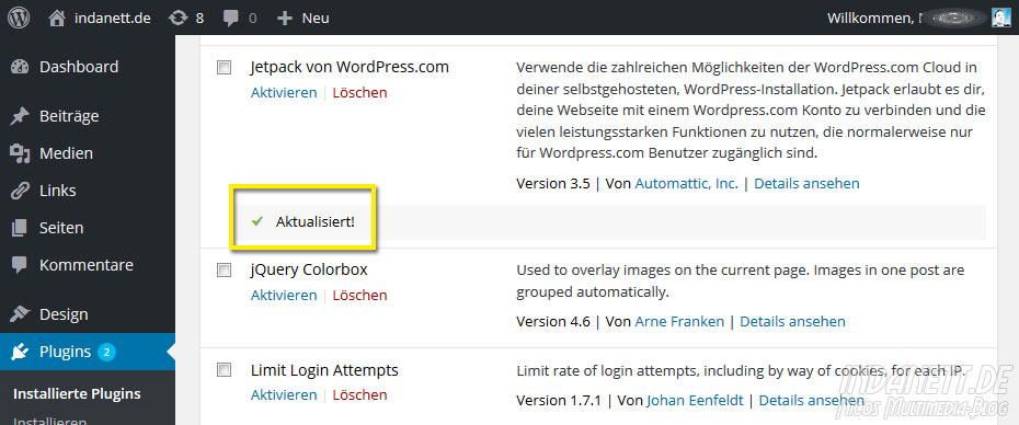 Wordpress Plugin Aktualisierung unter 4.2