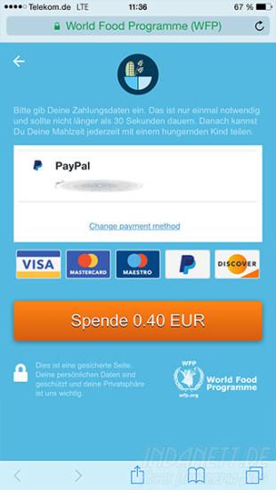 ShareTheMeal PayPal