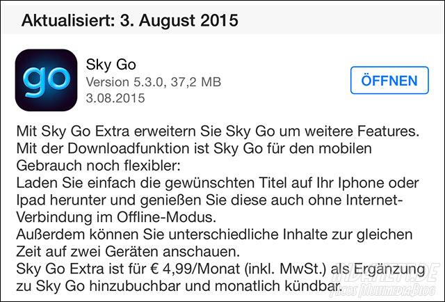 Sky Go Extra App Store