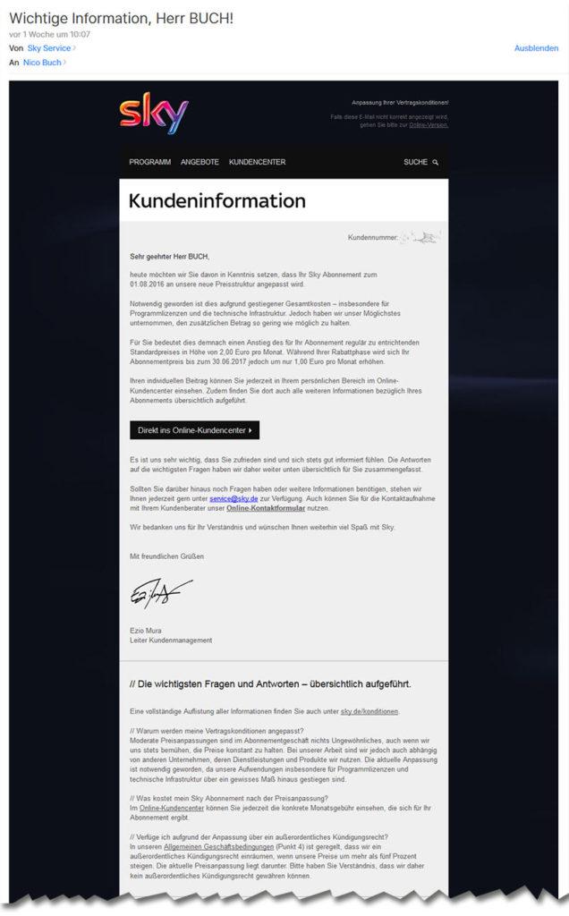 Sky Service Preiserhöhung Mail