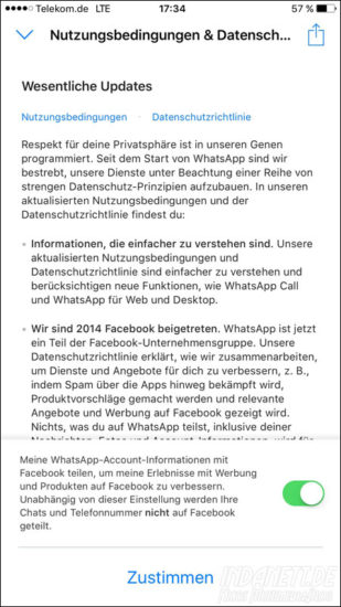 WhatsApp-Account-Information mit Facebook teilen