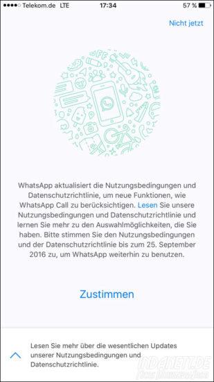 Whatsapp-Nutzungsbedinungen 2016