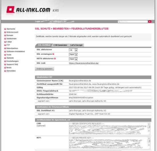 Wordpress auf https umstellen - Das Zertifikat