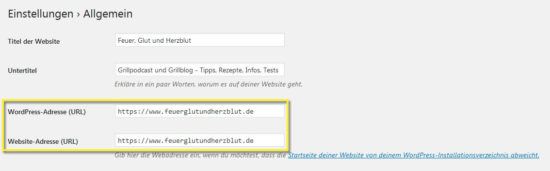 Wordpress auf https umstellen - Einstellungen WordPress