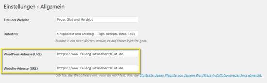 Wordpress auf https umstellen - Einstellungen WordPress