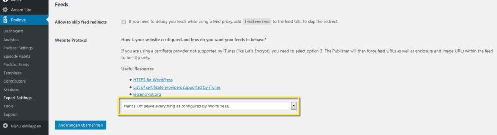 Wordpress auf https umstellen - Podlove Expert Settings